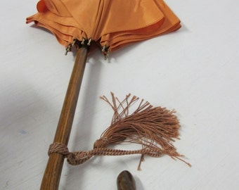 1920s Umbrella Art Deco Umbrella Peach Umbrella Parasol  Umbrella Wood Handle