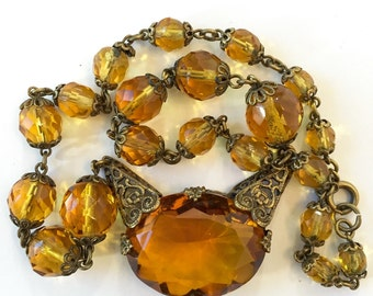 Vintage Art Deco Czech Glass Necklace Antique Jewelry 20s Amber Faceted Glass Choker Filigree Cut Glass Necklace Estate Jewelry Birthday