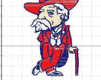 Ole Miss Rebel Embroidery pes digitized file