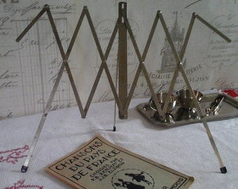 Vintage Music Sheet Stand...Table Music Sheet stand...Old music sheet stand...Metal Chrome Book Stand...Travel Stand...Folding..Collapsible