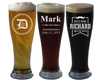 Personalized Pilsner Beer Glass, Custom Pilsner Glasses, Custom Beer Glass, Engraved Beer Mug, Groomsman Gift, Engraved Beer Glasses, Stein