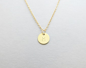 Gold Initial Necklace - Hand Stamped Customized Letter