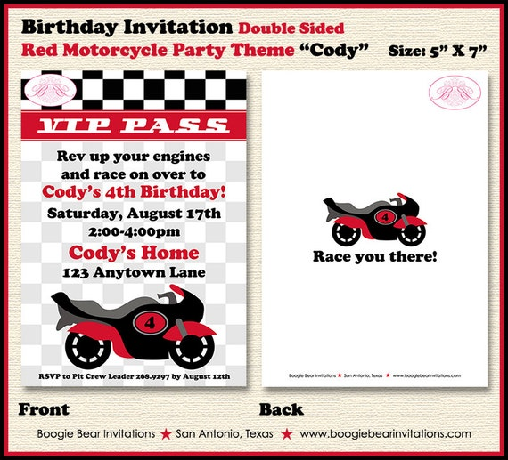 Motorcycle Birthday Party Invitation Red Black Grey Girl Boy – Motorcycle Party Invitations