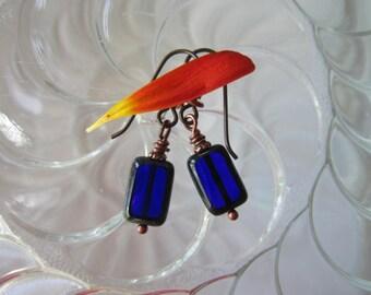Classic Simple Cobalt Picasso Czech Blue Rectangle Earrings Gorgeous Blue Earrings Vibrant Indigo Earrings Hypoallergenic Niobium Ear Wires