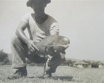 World War II Era US GI Fisherman Shows Off His Catch Snapshot Photo - Free Shipping