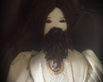Victorian Bearded Lady Sideshow Doll - Reworked Vintage Doll - Gothic Decor