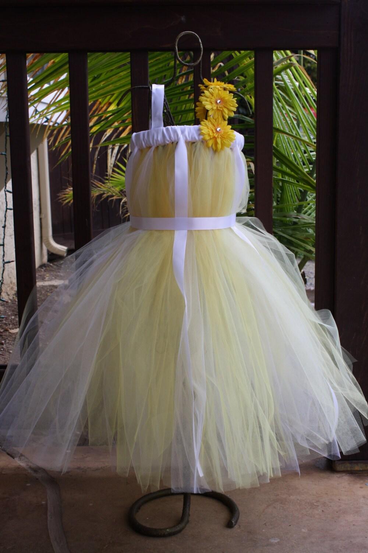 Yellow Daisy Dress Yellow And White Tulle Dress Yellow Tutu Dress