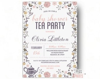 Perfect Tea Party Baby Shower Invitation For Girl   Baby Shower Tea Party Invitation    Baby Shower