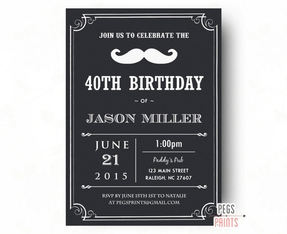 40th birthday invitation for men printable birthday invitation for il570xn filmwisefo