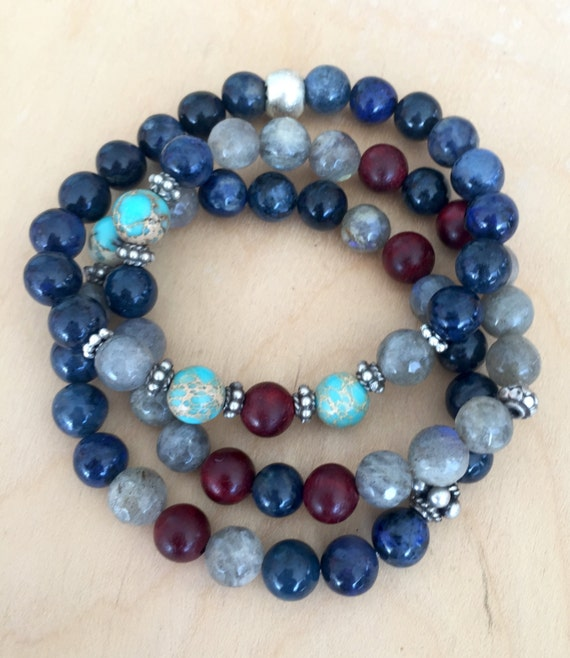 Stackable Wrist Mala Beads, Stretchy Bracelets, Dumortierite, Labradorite, Rosewood, Chakra Jewelry,  Yoga, Meditation,  Gift With Meaning