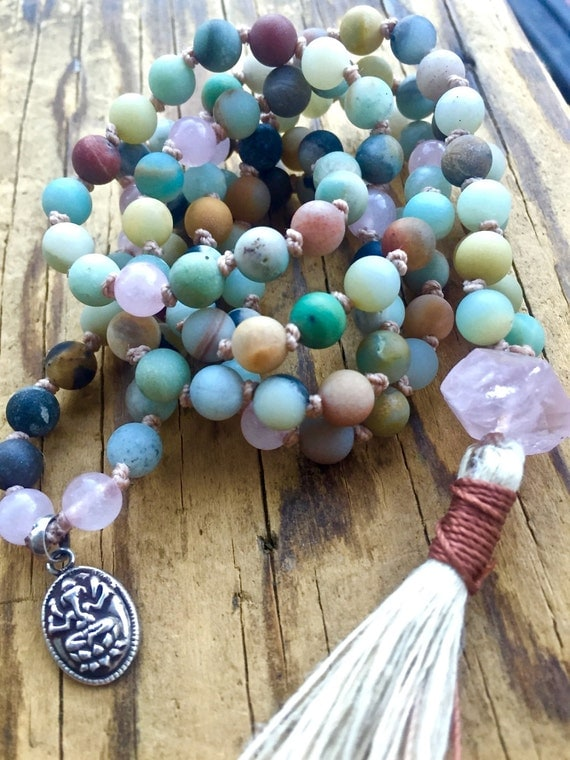 Amazonite Mala Beads Rose Quartz Ganesh Charm Remove Obstacles Chakra Necklace 108 Beads Yoga Jewelry Spiritual Gift