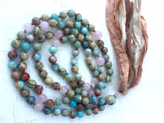 African Opal & Rose Quartz Mala Beads -  Sari Silk Tassel Necklace - Yoga Jewelry -  Mantra Meditation - Prayer Beads - Spiritual Gift