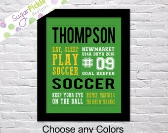 Soccer Print, Soccer art, Soccer Subway Art, Soccer Stats Art, Soccer Wall Art, Soccer printables, Team Gift, Personalized,