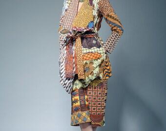 Patchwork African clothing Sosome beige mix ankara blazer coat