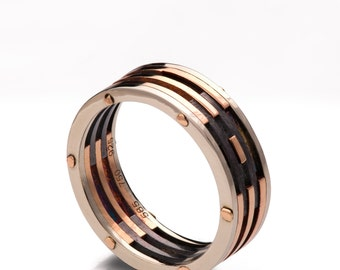 Gold Wedding Band, Men's 18K Rose Gold and Oxidized Silver Wedding band, steampunk, Wedding ring, black and gold ring, game of thrones, 2