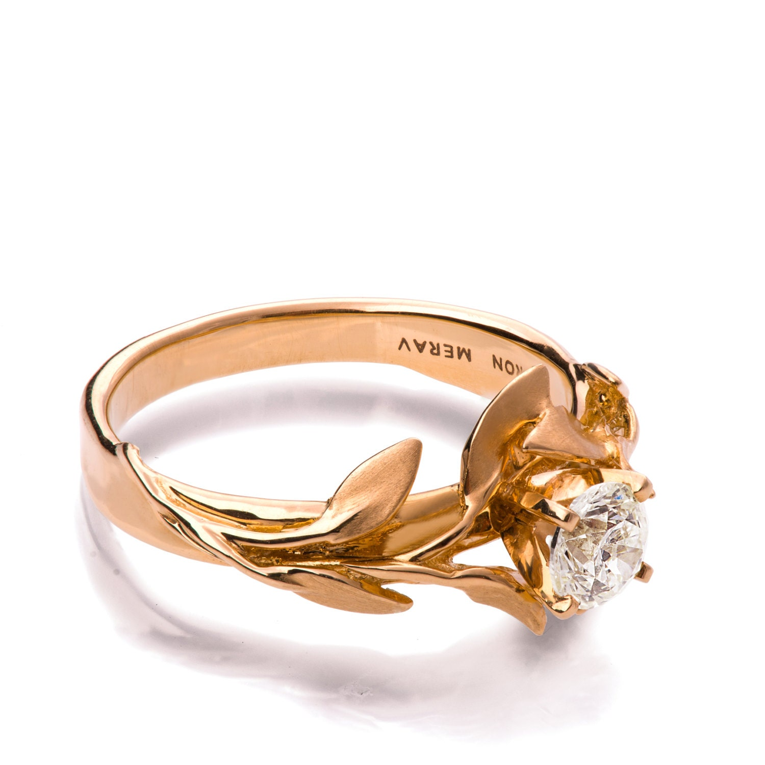 Leaves Engagement Ring No 4 18K Rose Gold and Diamond