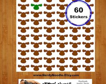 Moose Planner Stickers, 60, Moose Stickers, Moose Sticker Set, Moose Envelope Seals, Moose Scrapbook Stickers, Moose Stickers
