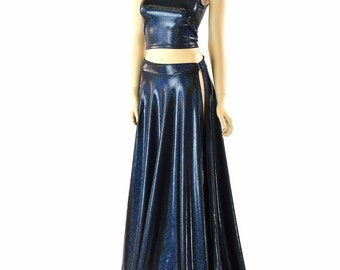 Black Holographic Full Length Quick Release A-Line Skirt with Slit & Matching Tank Crop Top 152257