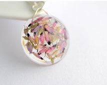 Heather necklace pendant real pressed dried heather flowers jewelry flower mauve pink resin pot pourri protection gift for her jewelry pagan