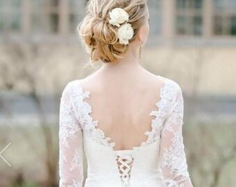 Ivory White Rose Bridal hair flower Wedding hair flower Bridal hair clip Rose clip Bridal flower Bridal hair accessories