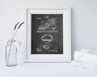 Hockey Skate Patent Poster, Vintage Hockey, Hockey Gift, Spots Decor, Hockey Coach, PP0169