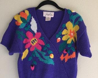 Purple Floral Sweater