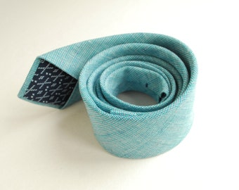 Turquoise Linen Necktie- Aqua Blue Necktie - Groom's Tie- Green Blue Necktie - Groomsmen Ties- Beach Wedding