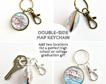 High School Graduation Gift for Him / Off to College Gift for Son / College Graudation Gift / Useful Gifts for Grads / Two Side Map Keychain