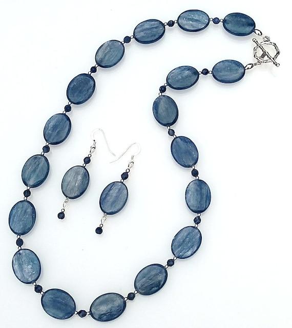 Blue Kyanite Necklace & Earrings, Blue Kyanite Necklace, Blue Necklace, Blue Beaded Necklace