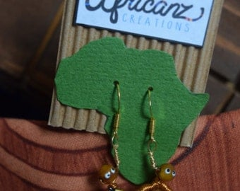 African Inspired Earrings - Wire Man with Spear - African Jewelry