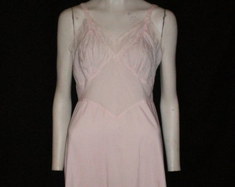 "Vintage Pink Cotton Slip -Pink Eyelet and Lace -Size 36"" -Ruffled Hem -Adjustable Strap -Two Layer Front -cotton negligee - Pink Sundress"