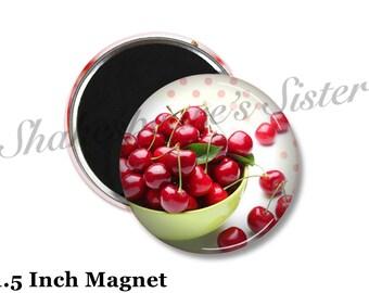 Cherry Kitchen Decor - Fridge Magnet - Red Cherry Magnet - 1.5 Inch Magnet - Kitchen Magnet - Red Cherries
