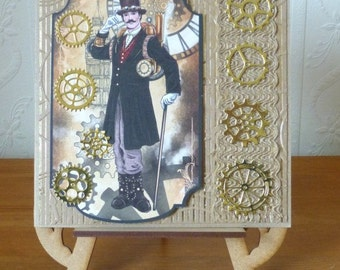 Steampunk Cogs And Wheels Mans Large Birthday Card