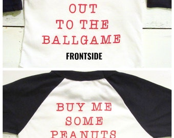 Adorable baby and toddler baseball tshirt. Take me out to the ballgame shirt. American Apparel.