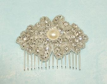 Pearl Rhinestone Bridal Comb, Wedding Hairpiece, Bridesmaid Hair Clip, Headband