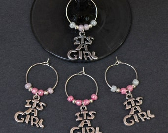 Baby Shower-New Baby Girl-Wine Glass Charms-Set of 4-ITSAGIRLPINK001-4