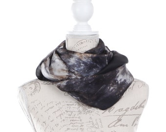 Trendy circle scarf / Black  Infinity silk scarf / black white and grey silk circle scarf/ black loop scarf scarf