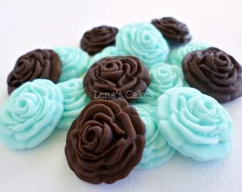 50 Fondant Edible Flowers for Cake Decoration, Blue Brown Party Decor, Gumpaste Roses, Edible Cupcake Topper Cake Fondant