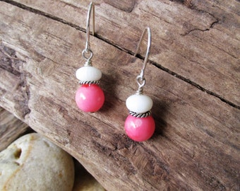 White Coral and Pink Coral with Sterling Silver Dangle Pierced Earrings
