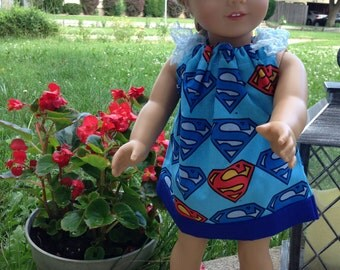 Superman Print Pillowcase Dress for 18 inch Doll