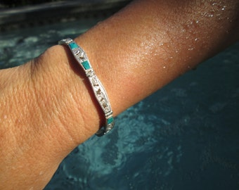 Peruvian Malachite and Sterling Silver Storytelling Link Bracelet