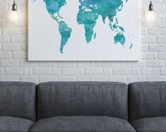 World Map Canvas - World Map Print - Watercolor Map - Canvas Wall Art - Green Map Art - Canvas Print - Home Decor - Canvas Quote