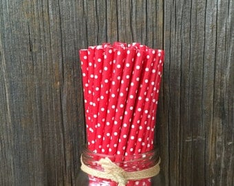 75 Red with White Dot Straws, Birthday, Valentine, Holiday Party, Picnic Supply