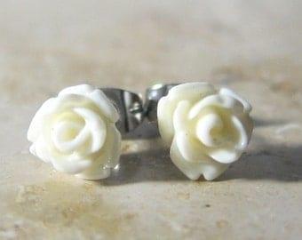 Mini rose flower earrings cream synthetic resin white stainless steel