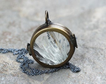 Glass Locket Necklace - Crystal Pendant - Raw Crystal Jewelry - Sterling Silver Chain