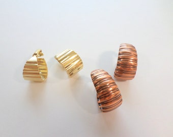 Copper Hoop Earrings Gold Hoop Earrings Corrugated Ribbed Oxidized Elongated Pierced Solid Copper Hoops Vintage Earrings Jewelry