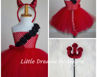 Darling Devil tutu dress with headband and trident, Devil costume size nb to 12years