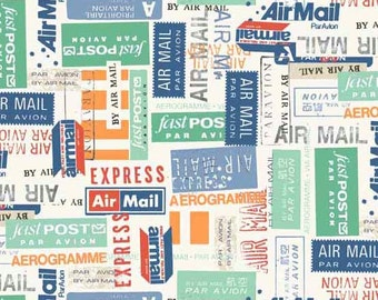 Postage Fabric, Airmail Label Fabric - Vacation by Makower Andover Fabrics 1653 - Priced by the Half yard