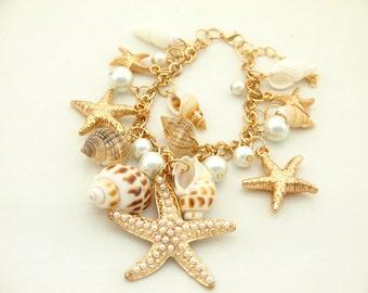 Shell Charm Bracelet - Beach Charm Bracelet