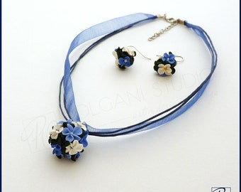 Forget Me Not Jewelry Set Necklace and Earrings  Tiny Flowers Blue White Green.  Polymer Clay Jewelry READY TO SHIP.